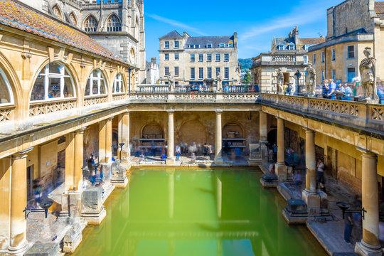 Long exposure view of roman bath in Bath, England