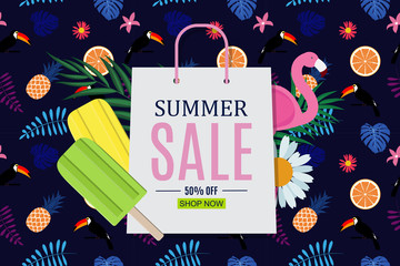 Abstract Summer Sale Background. Vector Illustration