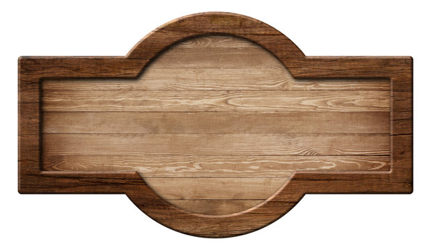 Oblong rounded wooden sign board or plate made of natural wood and with dark frame