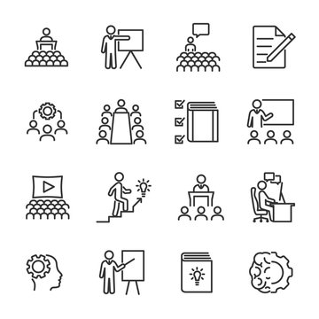 Vector set of training line icons.