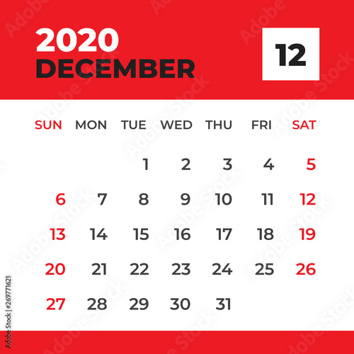 Calendar December 2020.December 2020 Template Desk Calendar For 2020 Year Week Start On