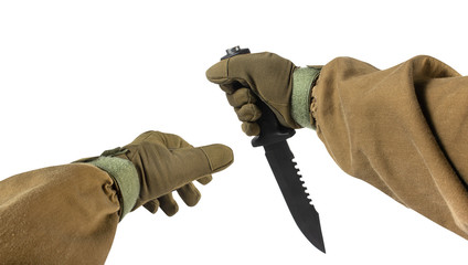 Soldier arms with military & hunting knife.
