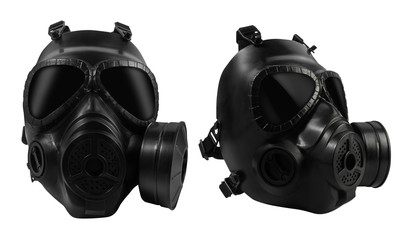 Isolated military gas mask.
