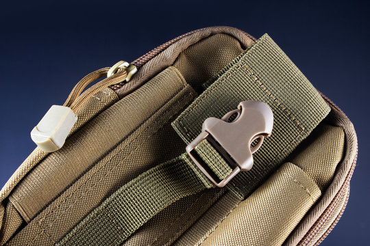 Tactical military pouch closeup view.