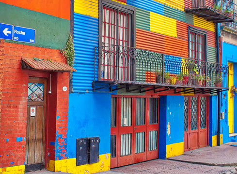 Buenos Aires, Argentina-September 15, 2018: Colorful buildings of El Caminito, a street museum and a traditional alley frequented by tourists, located in La Boca, a neighborhood of Buenos Aires