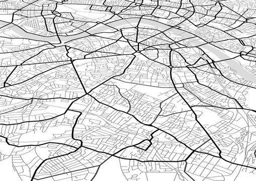 Vector abstract city map in perspective view