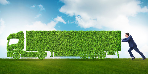 Businessman with green ecological vehicle Wall mural