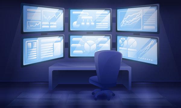 cartoon cabinet interior with many monitors, vector illustration