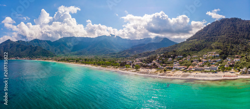 Wall mural Landscape with Amazing Golden Beach on Thassos, Aegean Sea, Greece