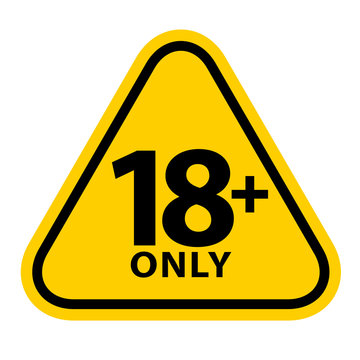 18 sign warning symbol isolated on white background, over 18 plus only censored, eighteen age older forbidden adult content