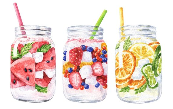 Hand drawn watercolor summer cocktails isolated on white background. Delicious food Illustration.