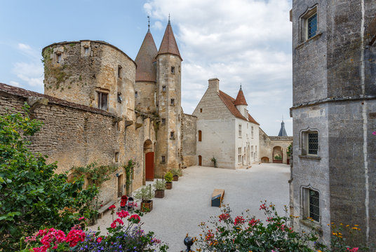 CHATEAUNEUF / FRANCE - JULY 2015: View to the inner yard of medieval castle of Chateauneuf-en-Auxois town, France