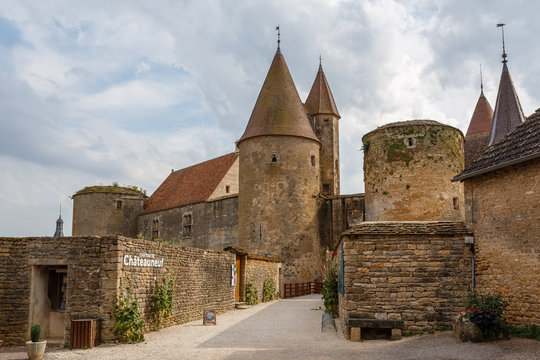 CHATEAUNEUF / FRANCE - JULY 2015: View to the medieval castle of Chateauneuf-en-Auxois town, France