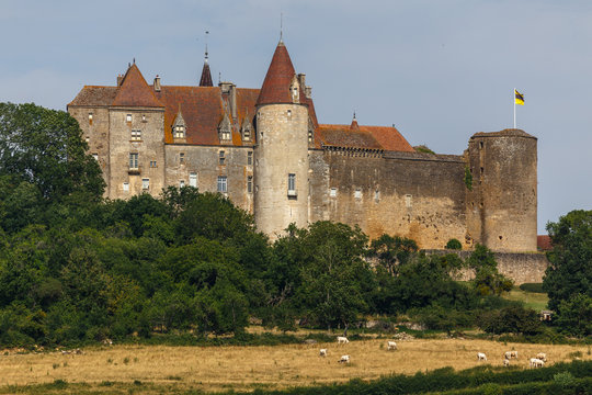 View to the medieval castle of Chateauneuf-en-Auxois town, France