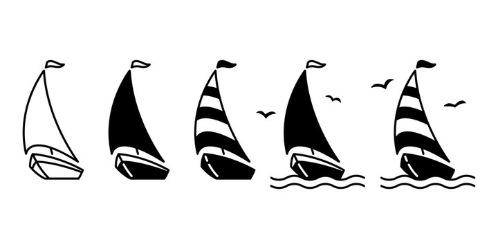 boat vector ship icon logo pirate sailboat yacht cartoon anchor helm bird symbol nautical maritime illustration graphic doodle