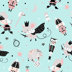 Fairy seamless childish pattern with nutcracker, toy soldier and mouse king.