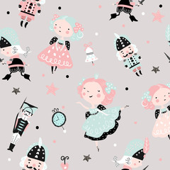Seamless childish pattern with nutcracker, girl and ballerina