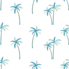 Vector seamless pattern of palm tree,  white background