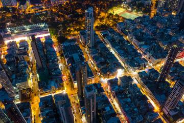 Fotomurales - Top view of Hong Kong city at night