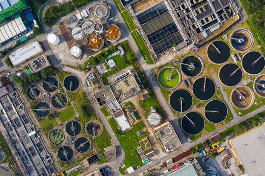Top down view of sewage plant