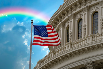 Wall Mural - Washington DC Capitol with waving flag on rainbow sky background