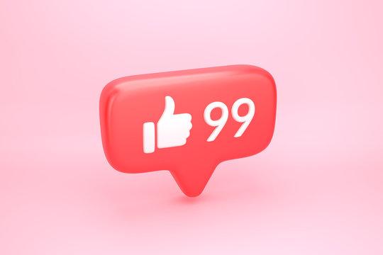 Ninety nine likes social media notification with thumb up icon