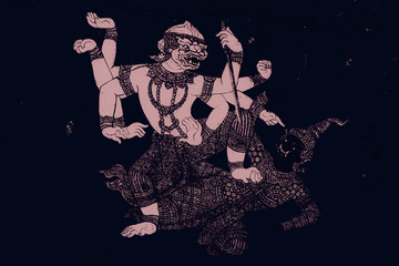 The Ramakien (Ramayana) mural paintings color black and pink illustration along the galleries wallpaper and art background