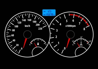 Car dashboard with speedometer, tachometer, fuel and temperature gauge. Vector illustration