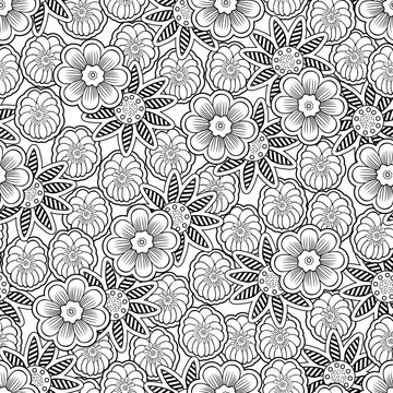 Doodle flowers seamless pattern, linear outline floral background, coloring. Black and white flower bud hand drawing, monochrome ornament for fabric design, wallpaper, print. Vector illustration