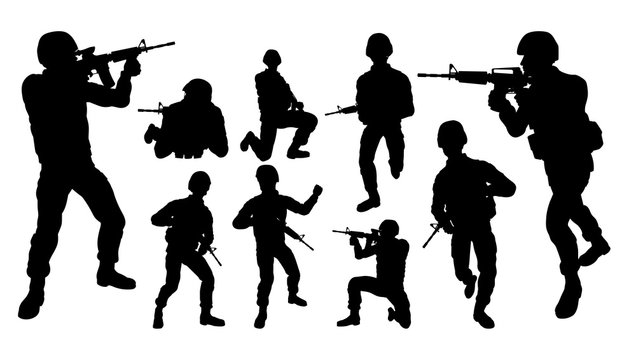 Military army soldier armed forces set of high quality detailed silhouettes