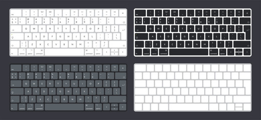 Vector Set of Modern Computer Desktop Laptop Keyboard Keypad Buttons. Letter and Symbols. Black, Aluminum, Gray and White Version. Wall mural