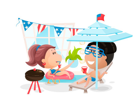 Scene of a pool party at the Independence Day in America. Vector illustration in cartoon style