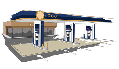 Gas station detailed drawing illustration, colorful, isolated