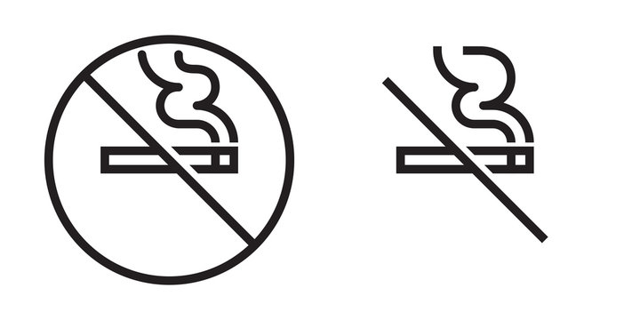 No smoking vector icon. Cigarette smoke forbidden, no smoking area warning sign