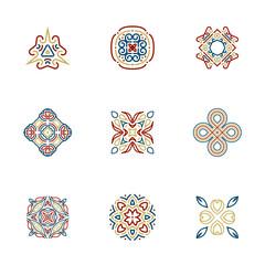 Mandala Logo design templates. Vector Abstract sacred geometric pattern shapes for yoga, spa, boho, wellness, nature, ethnic, tribal logo design.
