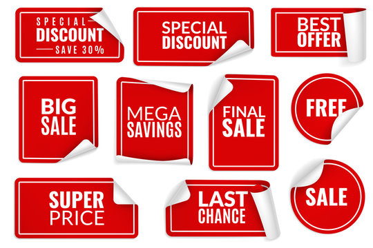 Red stickers curled. Wrapped paper sticker set, price labels sale banners bent edge corner sheets. Advertising badges vector templates