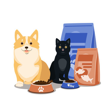 Pet food vector. Illustration of cartoon happy dog and cat sitting with full bowl of dry food and food packages.