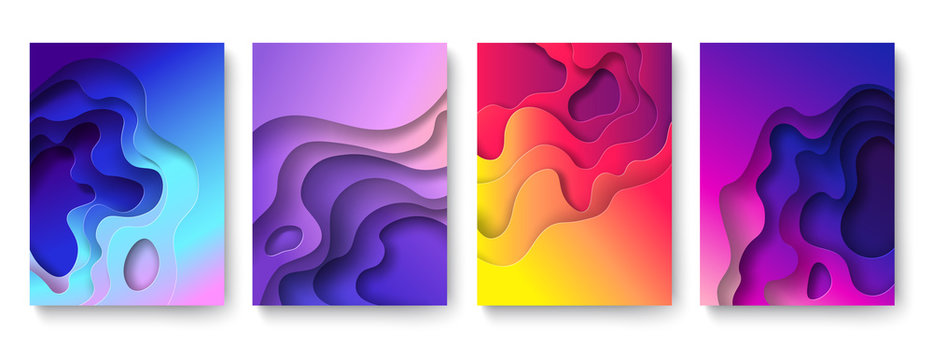 Abstract paper cut background. Cutout fluid shapes, color gradient layers. Cutting papers art. Purple carving 3d vector posters