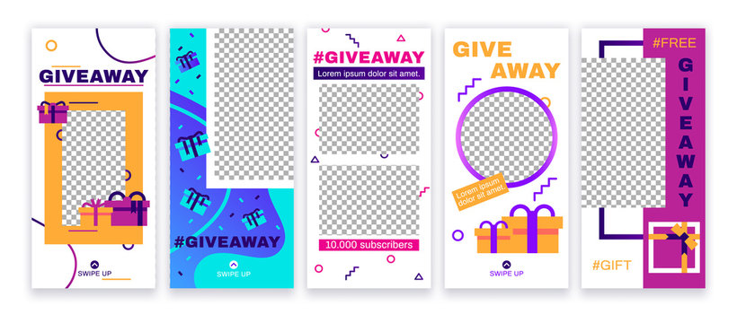 Stories giveaway post. Give away gifts, prize draw social media and gift photo frame story template vector set
