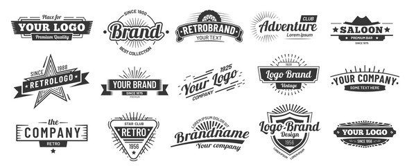 Foto auf AluDibond Retro Retro badge. Old emblem, logo frame and vintage silhouette badges hipster design vector set