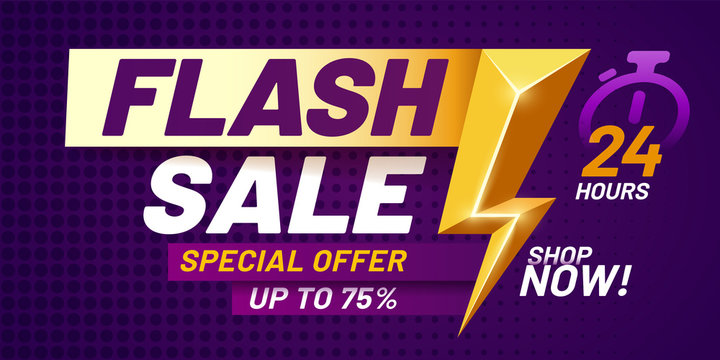 Flash sale poster. Lightning offer sales, special night deal and flashes offers discount dark billboard banner vector illustration