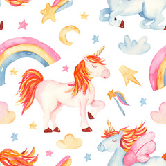 Watercolor seamless pattern with cute cartoon romantic unicorn, rainbow, stars, clouds. Texture for baby design, wallpaper, scrapbooking, prints, clothing, fabrics, textiles, baby shower.