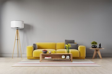 Living room with fabric yellow sofa,yellow armchair,lamp and green plant in vase on dark wall background. 3d rendering - fototapety na wymiar