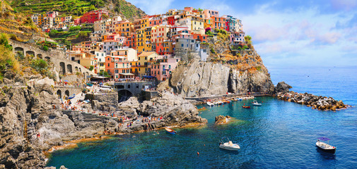 Italy - the Cinque Terre National Italian park. UNESCO world heritage site. Historical ancient Mediterranean place. Wall mural