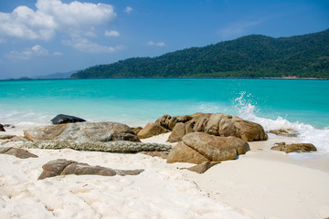 Paradise beach with white sand and blue sky for travel and vacation in holiday relax time