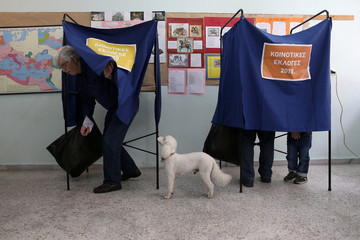 Dog stands next to its owner as he exits the polling booth, during EU and local elections at a polling station in Athens