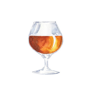 Glass of cognac, scotch or whiskey isolated on white background. Hand drawn watercolor illustration.