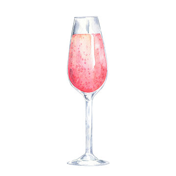 Glass of pink sparkling wine isolated on white background. Hand drawn watercolor illustration.