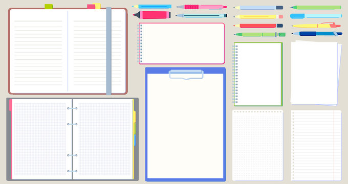 Notebook diary. Open notepad, empty sketchbook with writing pen and drawing pencil vector illustration set