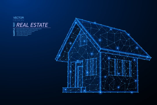 Abstract polygonal light design of house building symbol